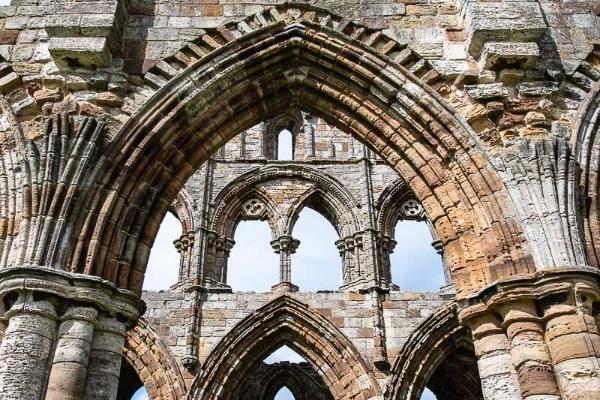 Close up of Whitby Abbey stonework