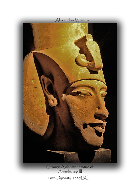 Orange Alabaster Statue of Amenhotep III