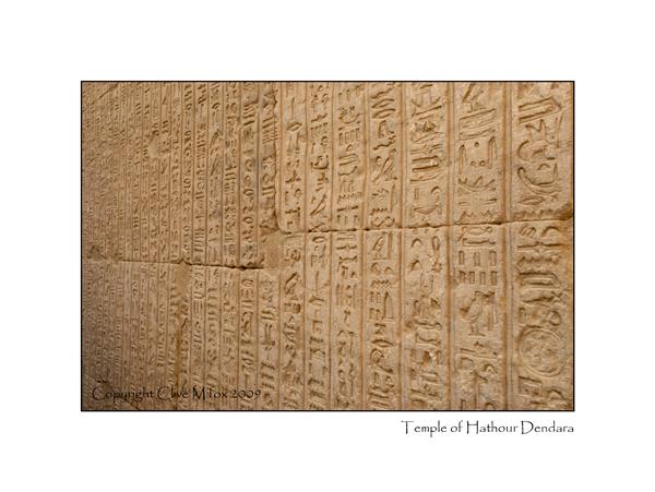 Hieroglyphs Temple of Hathour Dendara