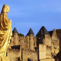 The Virgin Mary with La Cité de Carcassonne Behind
