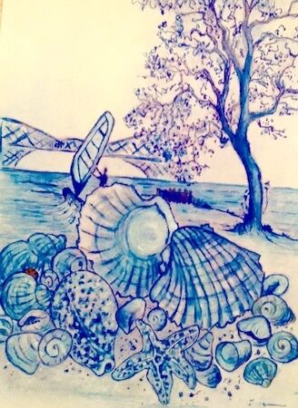 """""""Rock, Sea and shells along the Forth shore between Dalgety Bay and Aberdour"""" by Peggy Thomas"""