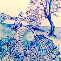 """Rock, Sea and shells along the Forth shore between Dalgety Bay and Aberdour"" by Peggy Thomas"