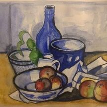 "'Still Life in Blue with apples"" by Jan Callender"