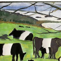 """Belted Galloways"", 3 different pictures on a memory theme by Maggie Brown"