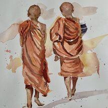 """""""Two boy Buddhist monks"""" by Moira MacPherson"""