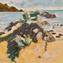 """Rocks on Black Sands Beach, Aberdour"" by Jan Callender"