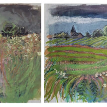 """On the right - """"Kilrenny Church, fields, trees, grasses and flowers"""" by Margaret Cummins"""