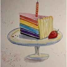 """""""Slice of Rainbow Cake"""" by Marjorie Rae"""