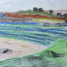 """Samalaman Island near Glenuig"" - Oil Pastel"