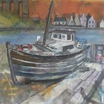 """""""Old Boat, North Queensferry"""" by Margaret Cummins"""