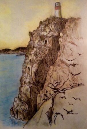 """""""Cliffs and Sea along the Forth shore between Dalgety Bay and Aberdour"""" by Peggy Thomas"""