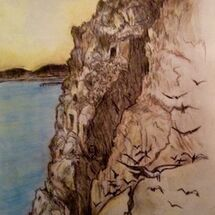 """Cliffs and Sea along the Forth shore between Dalgety Bay and Aberdour"" by Peggy Thomas"