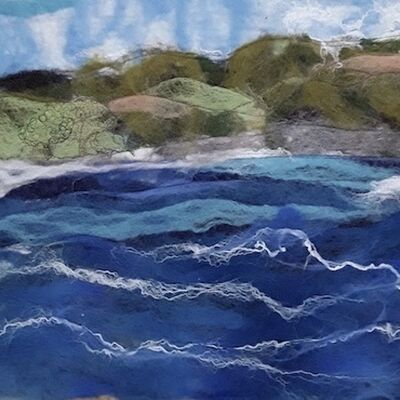 """Wild Water"" using Wool Felt with Silk and Stitching"