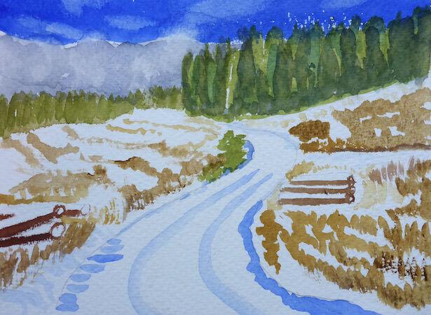 """""""Knockhill Wood in snow"""" by Liz Bibby"""