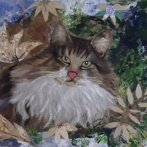 """Pussy Cat relaxing on Autumn Leaves"" by Andrea Cochran"