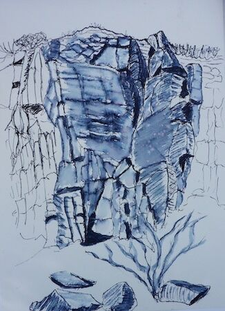"""Cliffs along coastal path"" by Liz Bibby"