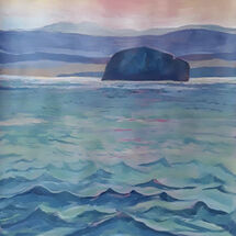 """Winter Evening Silhouette - Bass Rock"" by Margaret Cummins"