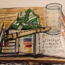 """Should I paint, play my recorder or put my feet up and have a mint"" by Jan Callender"