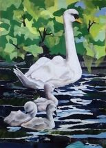 """""""Swans at Townhill Loch"""" by Joan Patterson"""
