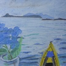 Kayak heading to small islands on right, Eigg and Rhum to the left and Hydrangea from garden! by Liz Bibby