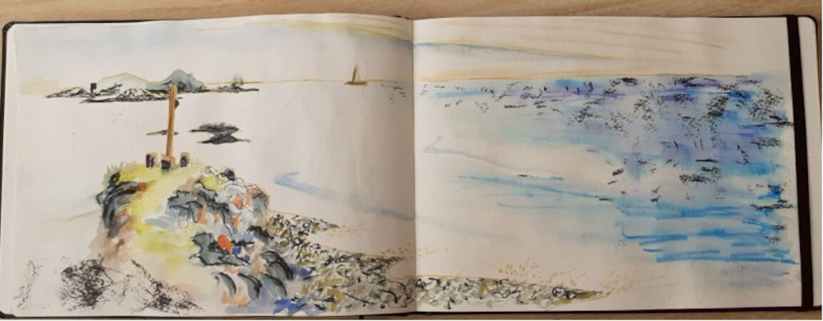 Sketch from the gun emplacement along the coastal path – a long sketch!!