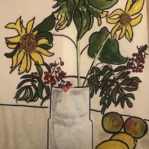 """Vase on a table with Sunflowers and Fruit"" by Gwynith Young"