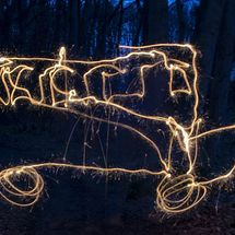 Bus Light  Painting - Photograph
