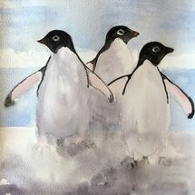 """Penguins having fun"" by Barbara Wade"