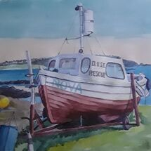 """Dalgety Bay Rescue Boat during Lockdown"" by Margaret Cummins"