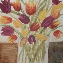 """Tulips in a vase"" by Judith Jaggard"