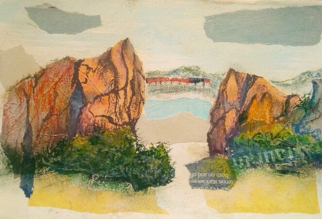 """"""" On the coastal path, looking thro' the rocks from North Queensferry towards Dalgety Bay"""" by Joan Patterson"""