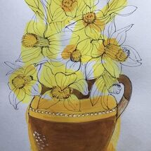 """Daffodils in vase"" by Maggie Brown"