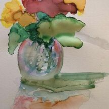 """Sweet Peas in a glass vase"" by Jan Callender"