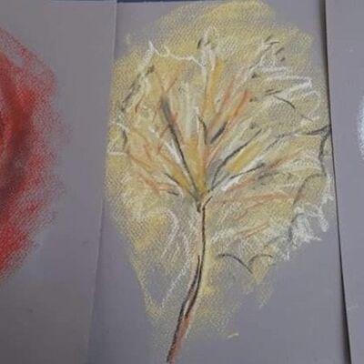 """""""Autumn Pastel Leaf Rubbings"""" by Liz Barclay"""
