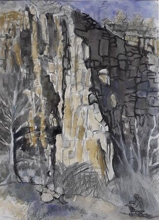 """""""Sunlight on Old Quarry Cliff (and me)"""" by Margaret Cummins"""