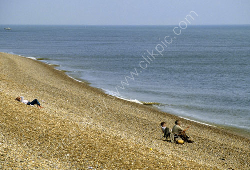 Steep pebble beach at Folkestone.