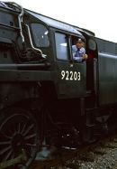 "Engine driver on preserved loco 92203 ""Black Prince"", Cranmore, Somerset in late 70's."
