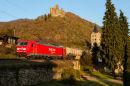 Freight train passing Burg Maus, St. Goarshausen.