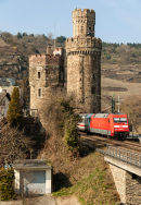Intercity passing Oberwesel in Rhine Gorge.