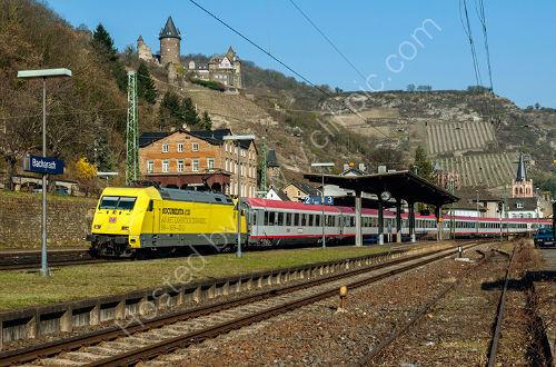 Euro-city train, Bacharach, Germany.