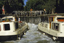 Boats in locks on the Canal du Midi, France.