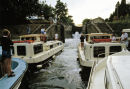Boats in locks on the Canal du Midi, France, 1980s