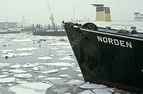 Wintry conditions in Norden Harbour, Lower Saxony, Germany, 1980s
