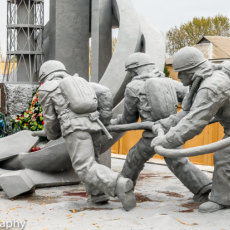 The monument to the 'Men who saved the world', Chernobyl.