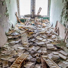 Library books remain in the school, all furniture was removed in the 90's to sell once the Soviet Union crumbled.