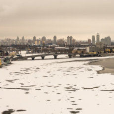 A five image panorama of Kiev and the River Dnieper