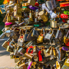 Lover's padlocks attached to a heart in Odessa, Ukraine