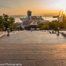 The Potemkin Steps over looking the Port of Odessa, Ukraine