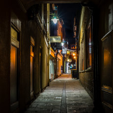 An alley off St Peter's Square, Hereford, England