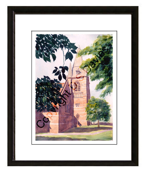 St Mary's Church, Pulford - Framed Watercolour